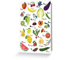 English alphabet with fruit and vegetables Greeting Card