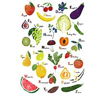 English alphabet with fruit and vegetables Photographic Print