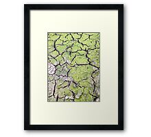 environmental concept, Water shortage and drought Dry cracked mud Framed Print