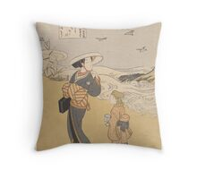 Suzuki Harunobu - The Jewel River of Plovers, a Famous Place in Mutsu Province Throw Pillow