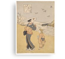 Suzuki Harunobu - The Jewel River of Plovers, a Famous Place in Mutsu Province Canvas Print