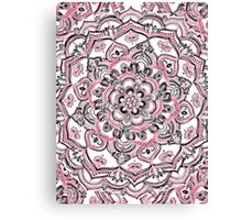 Magical Mandala in Monochrome + Pink Canvas Print