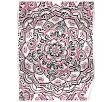 Magical Mandala in Monochrome + Pink Poster