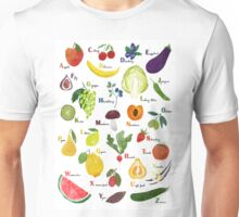 English alphabet with fruit and vegetables Unisex T-Shirt