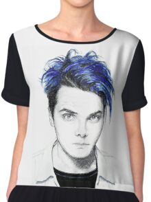 Gerard Way Blue Chiffon Top