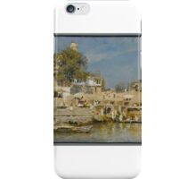Temples and Bathing Ghat at Benares,  Edwin Lord Weeks iPhone Case/Skin