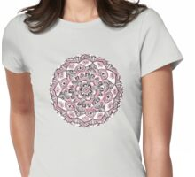 Magical Mandala in Monochrome + Pink Womens Fitted T-Shirt
