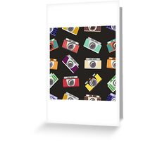 Abstract pattern. Cameras in flat design. Greeting Card