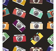 Abstract pattern. Cameras in flat design. Photographic Print