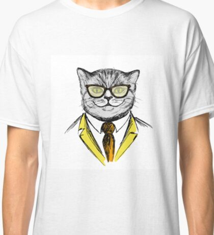 cat dressed up in hipster style,fashion on white background, Classic T-Shirt