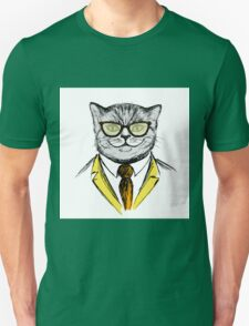 cat dressed up in hipster style,fashion on white background, Unisex T-Shirt