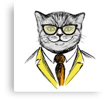 cat dressed up in hipster style,fashion on white background, Canvas Print