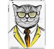 cat dressed up in hipster style,fashion on white background, iPad Case/Skin