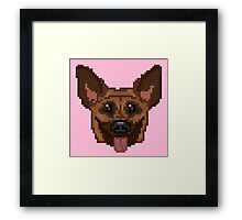Pixel German Shepherd (Pink) Framed Print