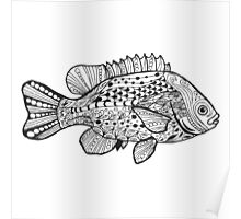 Fish with doodle pattern Poster