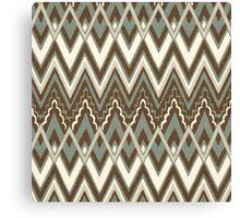 Tribal, Geometric Chevron Patterns Brown Hue Canvas Print