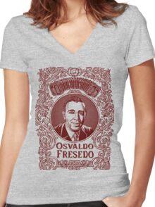 Osvaldo Fresedo in Red Women's Fitted V-Neck T-Shirt