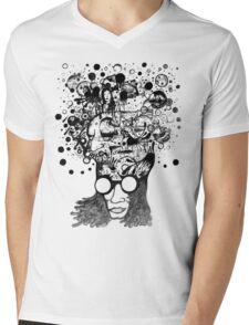 Bubbling Mind (Black) Mens V-Neck T-Shirt