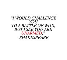 Shakespeare-Battle of Wits Photographic Print