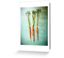 Three Carrots Greeting Card