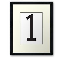 1, TEAM SPORTS, STENCIL, NUMBER 1, ONE, FIRST, Numero Uno, Uno, Ichi, Win, Winner, Competition Framed Print