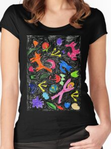 oil pastel pattern Women's Fitted Scoop T-Shirt