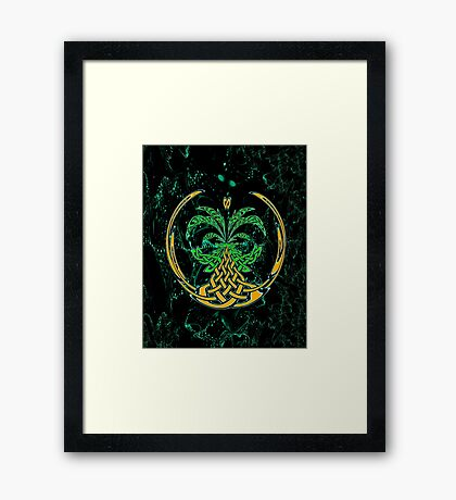 Celtic Tree of Life No2 on an abstract background Framed Print