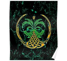 Celtic Tree of Life No2 on an abstract background Poster
