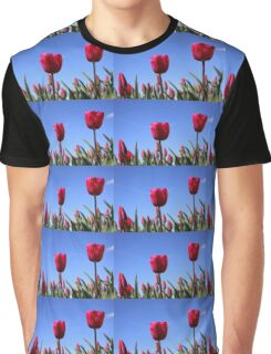 Red Tulips in Blue Sky Graphic T-Shirt