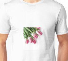 Pink Tulips isolated on white Unisex T-Shirt