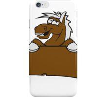 holzschild funny comic cartoon horse wall shield text empty umrandung stall wall pony iPhone Case/Skin