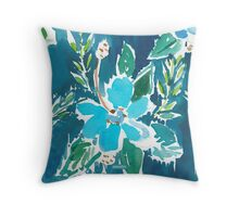 BLUE HIBISCUS FUNKY SOUL Throw Pillow