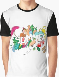 Doodles abstract decorative summer pattern. Graphic T-Shirt