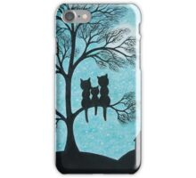 Cats in Tree: Three Cats Silhouettes, Cats Moon Stars iPhone Case/Skin