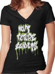 Our Future Leaders Graffiti Green Women's Fitted V-Neck T-Shirt