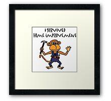 Cool Funny Monkey Handyman Cartoon Framed Print