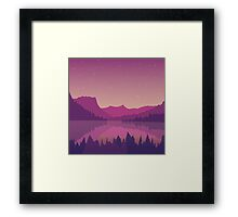 Landscape with a mountain lake at sunset. Framed Print