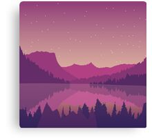 Landscape with a mountain lake at sunset. Canvas Print