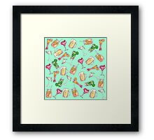 Fun Summer Watercolor Painted Mixed Drinks Pattern Framed Print