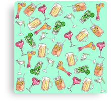 Fun Summer Watercolor Painted Mixed Drinks Pattern Canvas Print