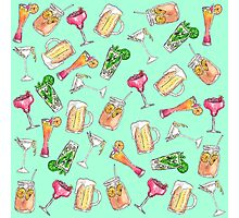 Fun Summer Watercolor Painted Mixed Drinks Pattern Photographic Print