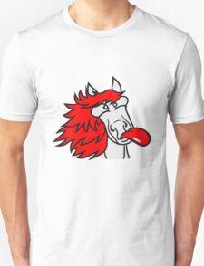 face head crazy funny grimace beautiful pony stallion riding white comic cartoon Unisex T-Shirt