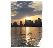 Sunset Over Hudson River Poster