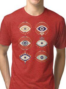 Evil Eye Collection on White Tri-blend T-Shirt