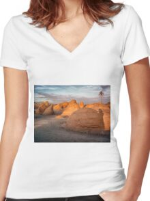 Rock formation in Tunisia Women's Fitted V-Neck T-Shirt
