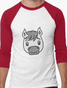 face head sweet cute sitting comic cartoon pony horse pferdchen kawaii child girl baby foal Men's Baseball ¾ T-Shirt