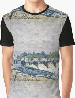Alfred Sisley - Molesey Weir, Hampton Court   Impressionism  Landscape  Graphic T-Shirt