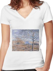 Alfred Sisley - Banks of the Loing - Autumn Effect Impressionism  Landscape  Women's Fitted V-Neck T-Shirt