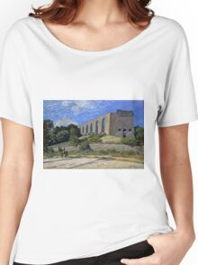 Alfred Sisley - Aqueduct at Marly 1874 Impressionism  Landscape  Women's Relaxed Fit T-Shirt