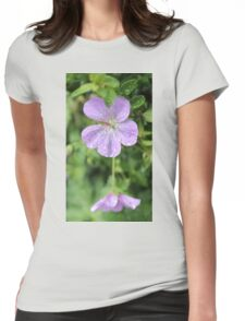 Purple flower on a rainy day Womens Fitted T-Shirt